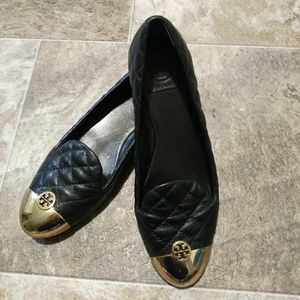 Tory Burch black and gold flats size 7.5